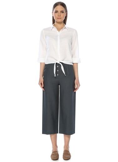 NetWork Kadın 1073230 Basic Fit Bol Paça Keten Pantolon Petrol